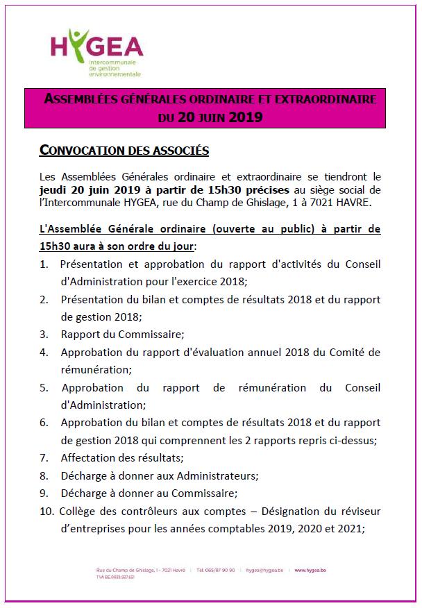 HYGEA – ASSEMBLÉES GÉNÉRALES ORDINAIRE ET EXTRAORDINAIRE DU 20 JUIN 2019
