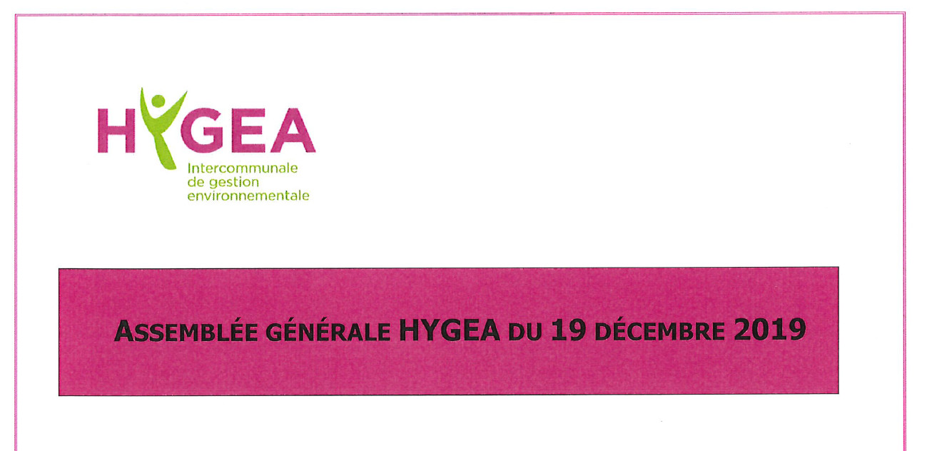 Assemblée générale HYGEA du 19 décembre