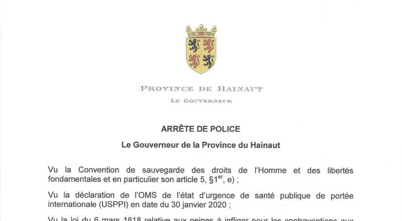 Covid-19 coronavirus / Arrêté de police du Gouverneur de la Province du Hainaut