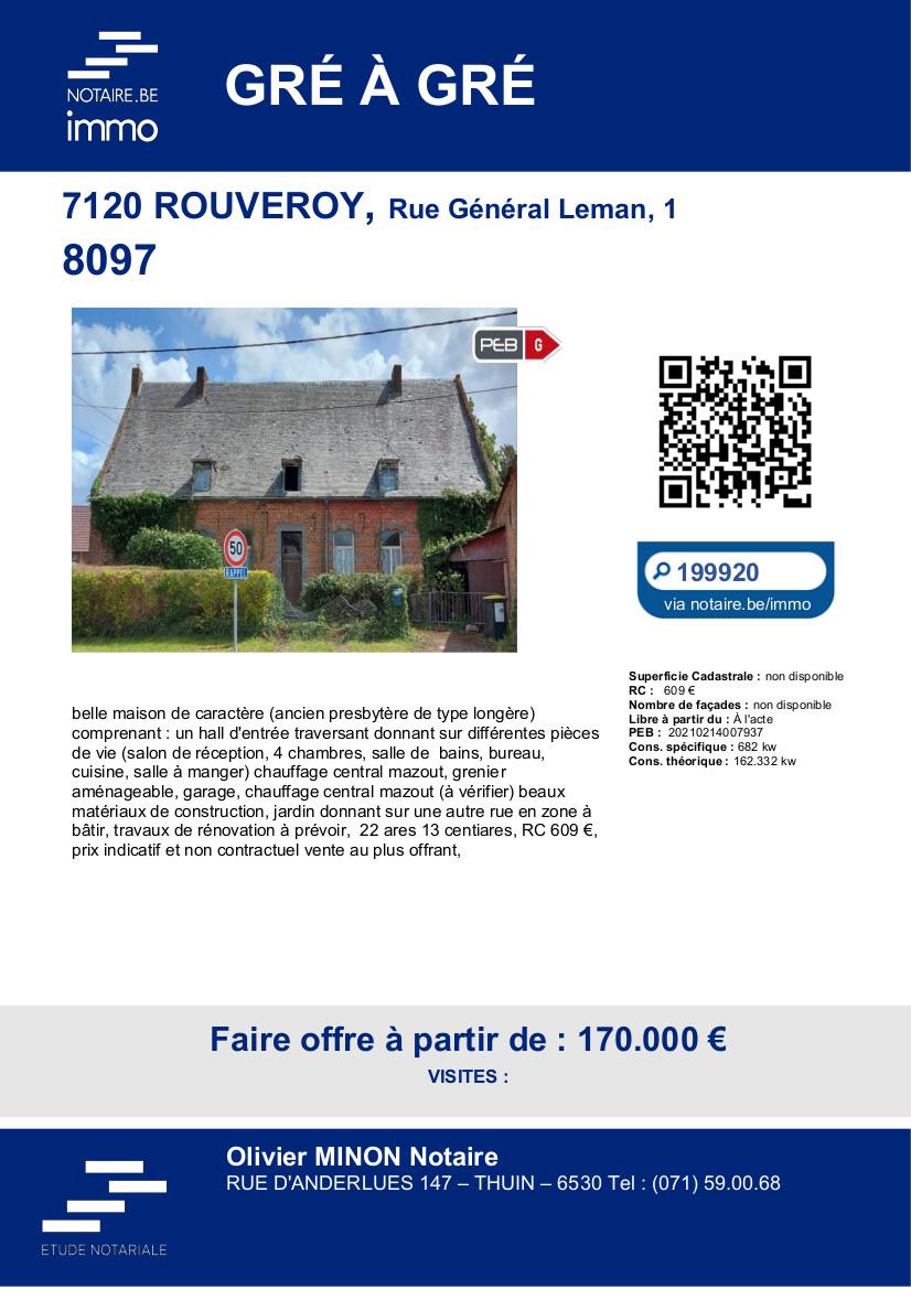 Vente de gré à gré – 7120 ROUVEROY, Rue Général Leman, 1