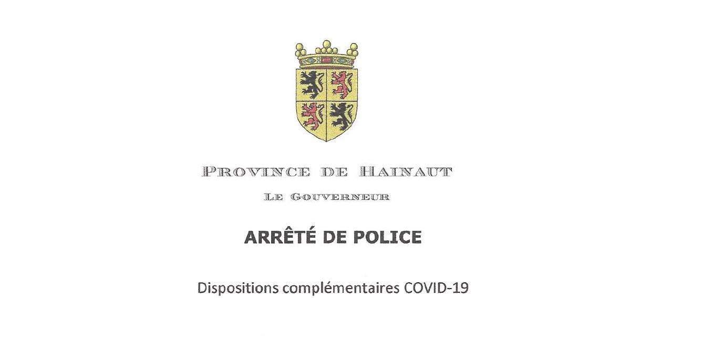 Dispositions complémentaires du 6 novembre 2020 du Gouverneur de la Province de Hainaut