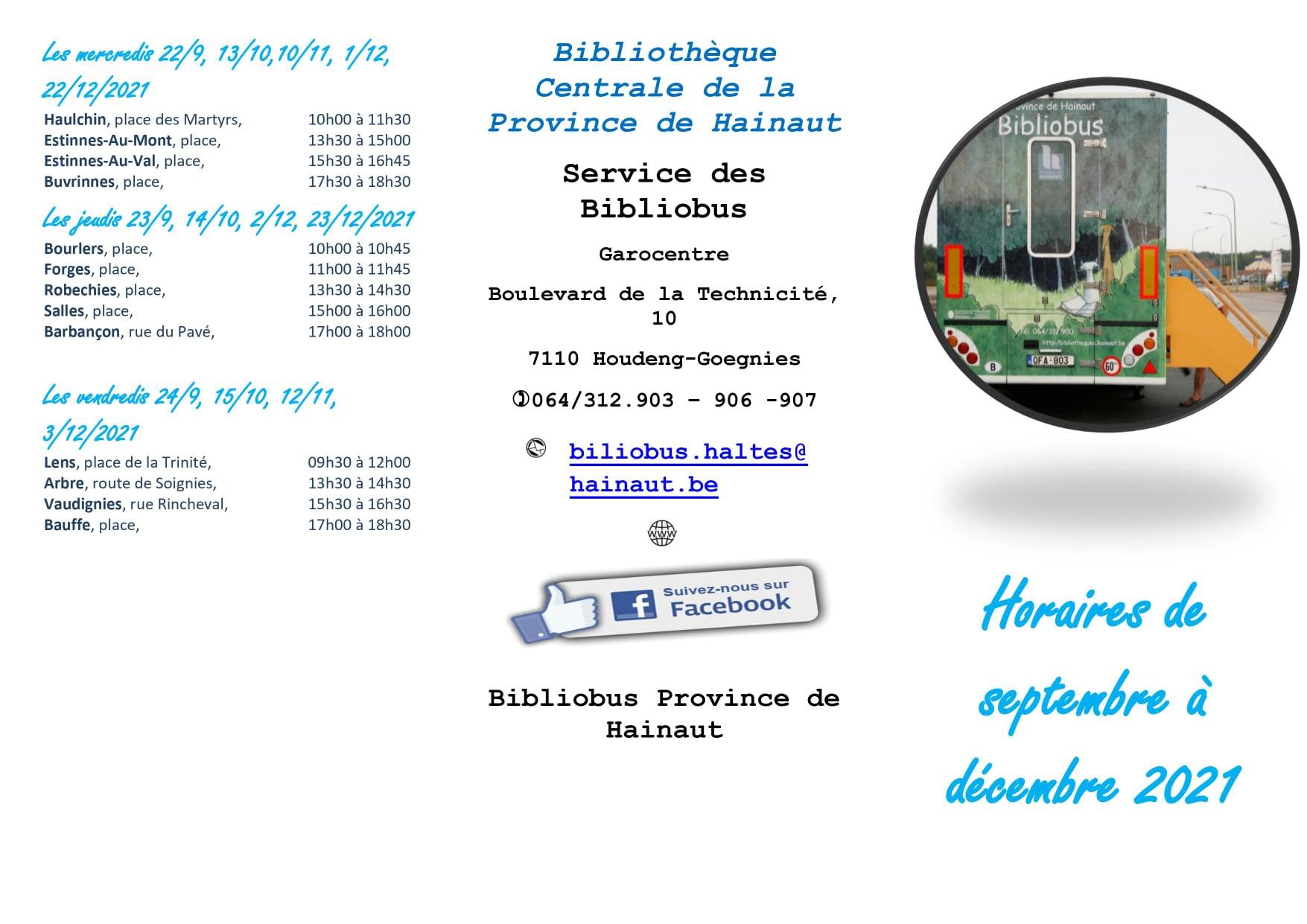 Bibliobus Province de Hainaut – Horaires des haltes sur l'entité d'Estinnes de septembre à décembre