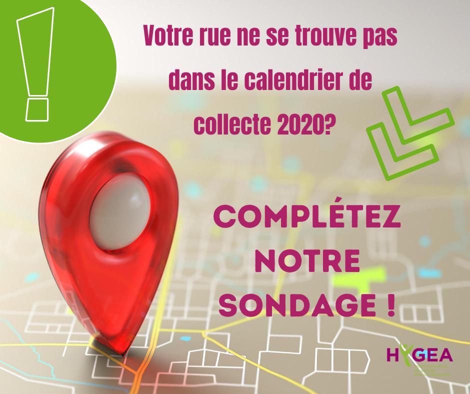 Calendrier de collecte 2021 – Sondage