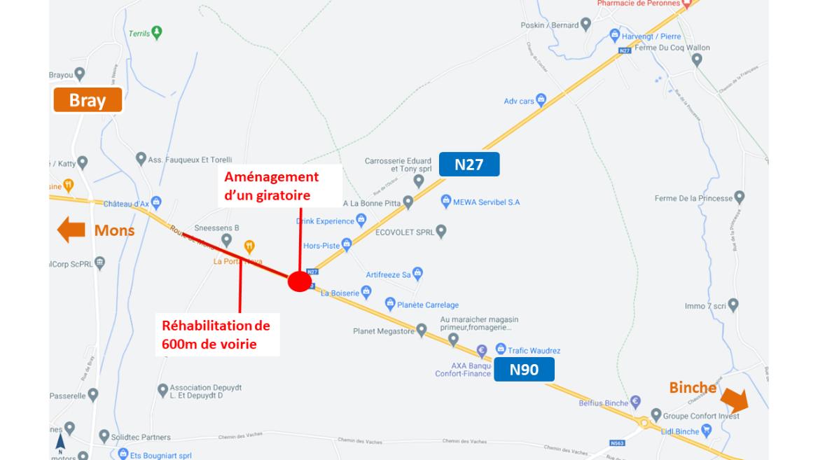 N90/N27 – Estinnes/Binche : lancement du chantier d'aménagement du giratoire de l'Octroi de Bray