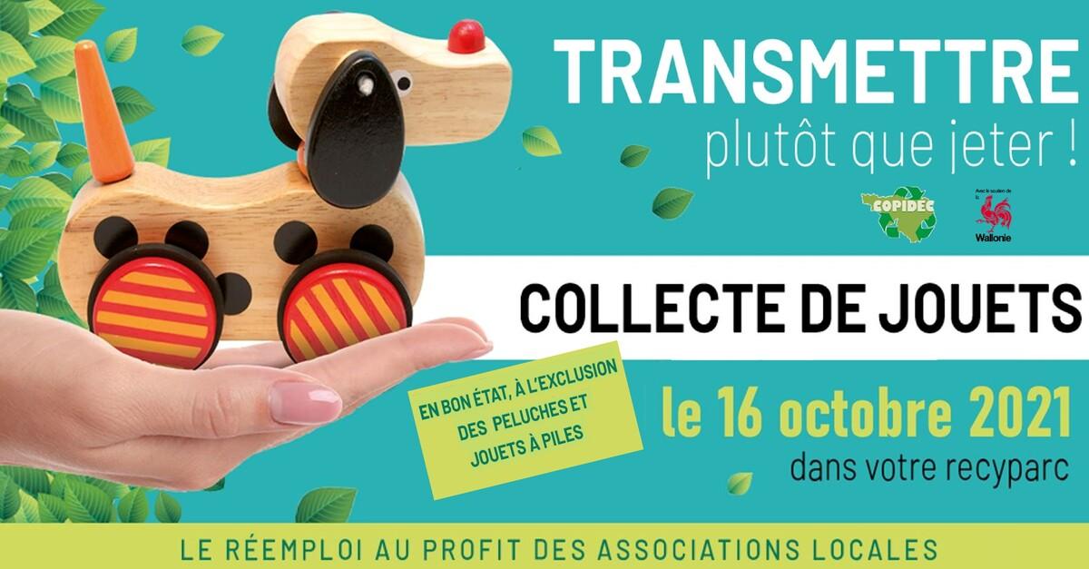 Collecte de jouets dans les recyparcs le samedi 16 octobre 2021 – Information