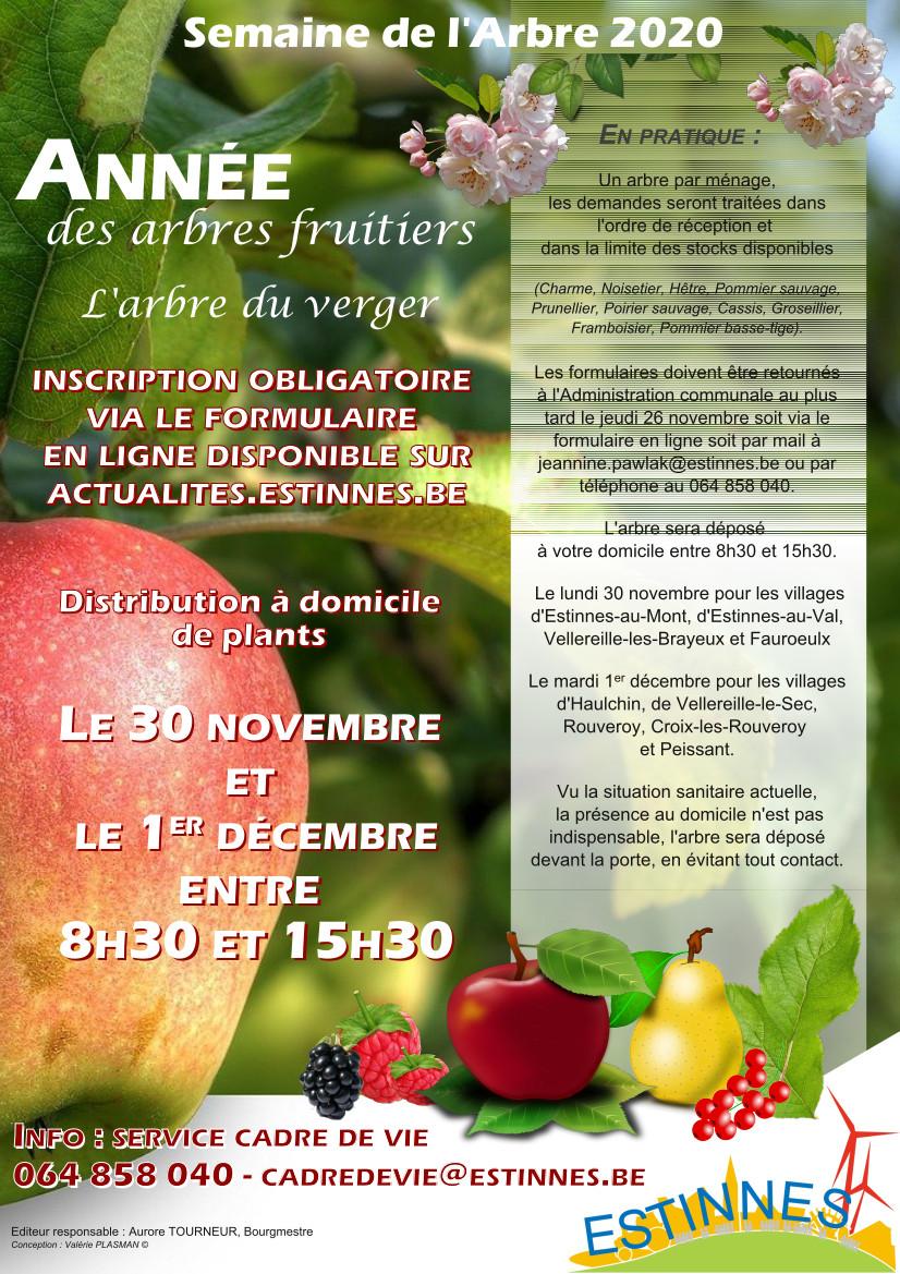 Semaine de l'arbre 2020 – Année des arbres fruitiers – Distribution gratuite d'arbres