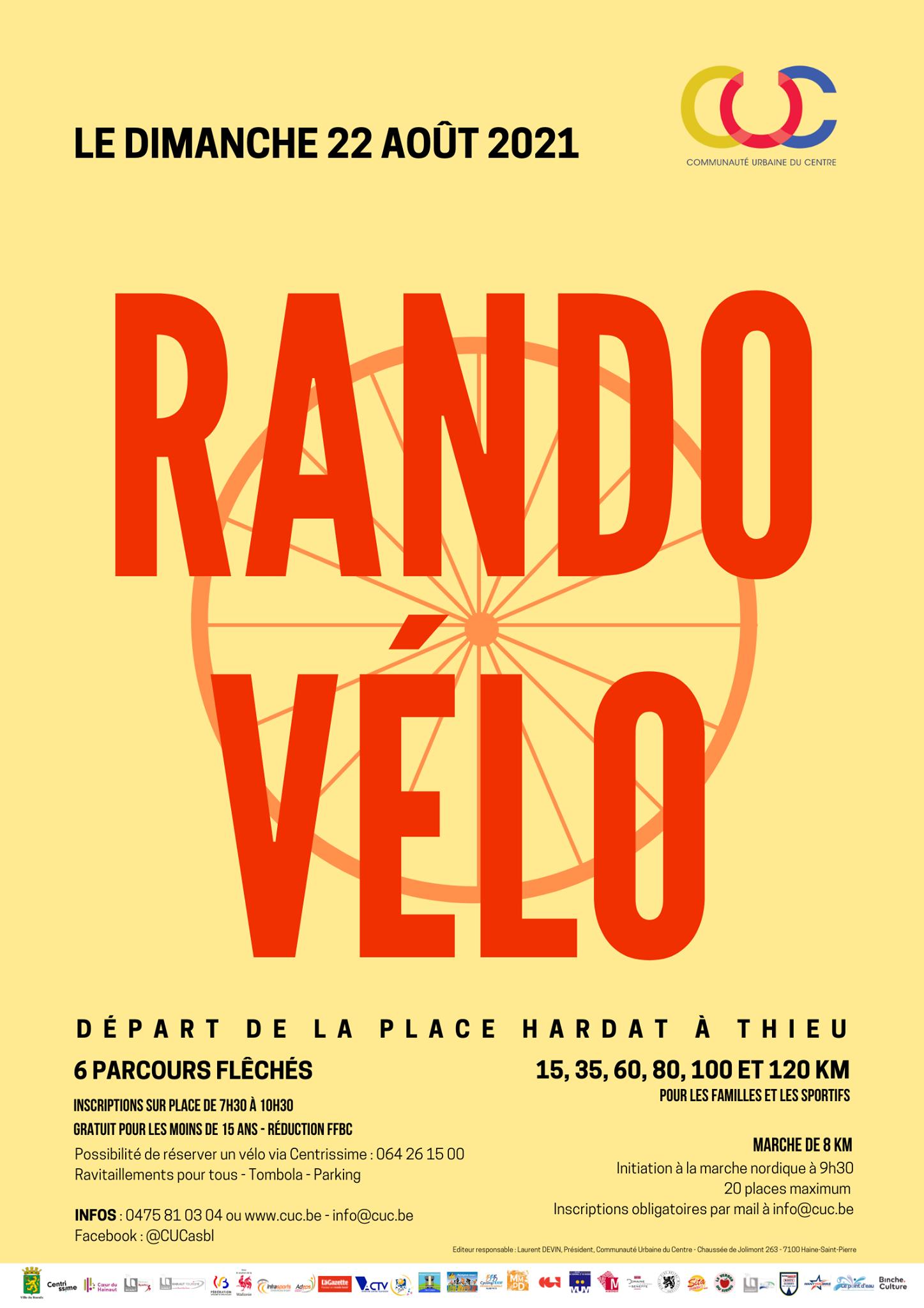10ème Randonnée Vélo de la Communauté Urbaine du Centre – Dimanche 22 août 2021